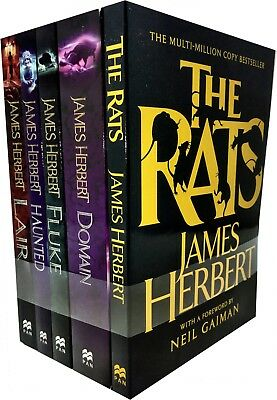 James Herbert Collection 5 Books Set Pack The Rats, Hunted, Fluke, Domain, Liar