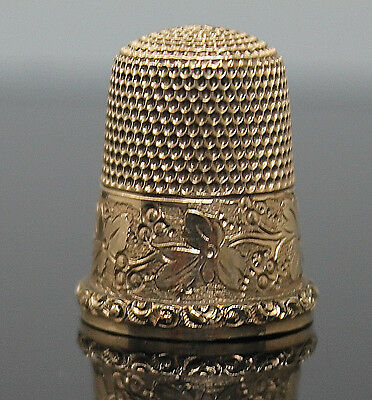 Antique Etched Swirl Edge Floral Design Solid 14K Yellow Gold Thimble Size 9