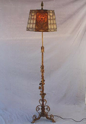 1920s Ornate Floor Lamp Mica Shade Spanish Revival Antique Light Floral (6822)