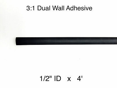 "1/2"" ID x 4 FT 3:1 BLACK Dual Wall  Adhesive Polyolefin Heat Shrink Tubing"