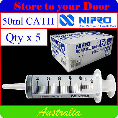 (5 x) 50ml - 60ml CATHETER TIP Hypodermic Syringes - Disposable Medical Syringe