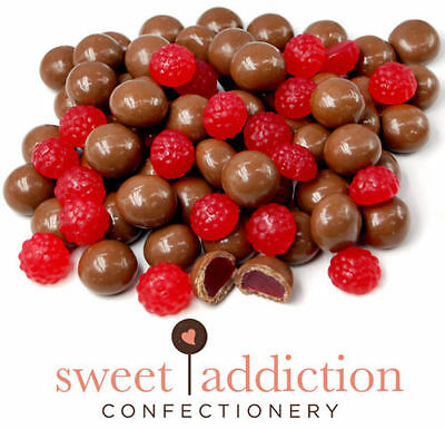 500g Premium Milk Chocolate Covered Red Raspberries - Bulk Lolly Candy Buffet