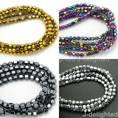 """Natural Hematite Gemstone 18 Faceted Bicone Cone Beads Coated Color 4mm 5mm 16"""""""
