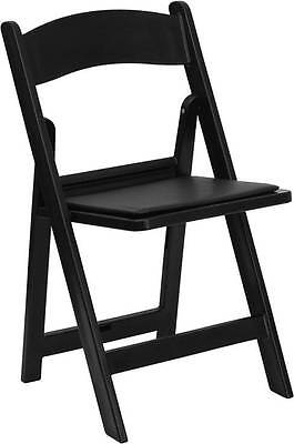 Hercules Series 1000 Lb. Capacity Black Resin Folding Chair With Black Vinyl Pad
