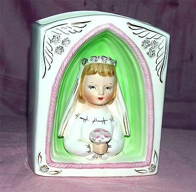 VTG 1950'S NATIONAL POTTERY NAPCO 3D BAS RELIEF LITTLE GIRL FIRST COMMUNION VASE