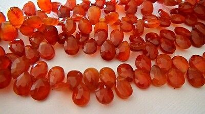 Carnelian faceted pear briolette