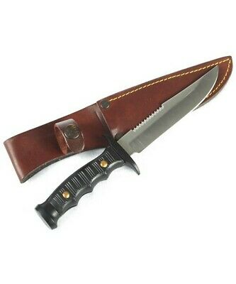 Muela 21.5cm Combat Black 440c Stainless Knife - Leather Sheath