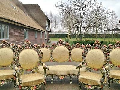 ANTIQUE COMPLETE ITALIAN ROCOCO LIVING ROOM /SOFA SET WITH 4 CHAIRS