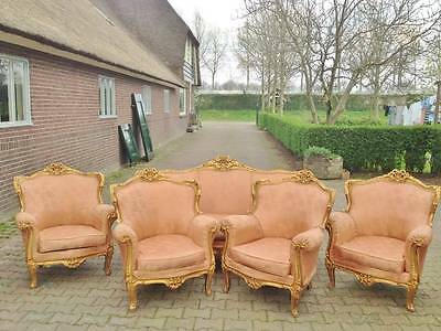 ANTIQUE BEAUTIFUL COMPLETE LIVING ROOM/SOFA SET WITH 4 CHAIRS