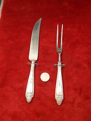 Very Nice Pair Of Old Vtg Antique Sterling Silver Fork & Knife Service Set, Vgc