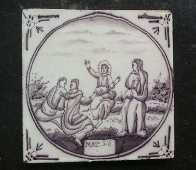 Antique Dutch Delft Tile Biblical TEXT: MAT:5:6: 18TH. C.