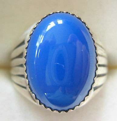 BOLD ESTATE STERLING SILVER ARTISAN RING SIZE 9 BLUE ONYX HAND MADE 9.4 GR