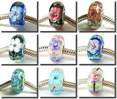 925 Sterling Silver Core Murano Glass Bead Crystal Fit European Charm Bracelet