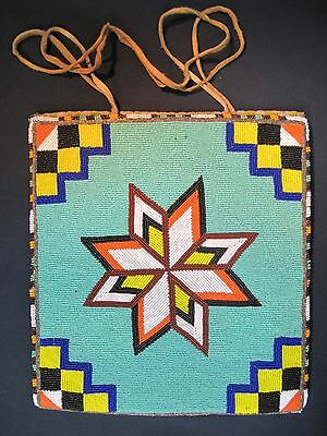 "Fine Native American Beaded Flatbag by Etta Adams ""Big Mom"" Spokane Tribe 50's"