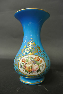19th Century Blue Baccarat Vase with Flowers