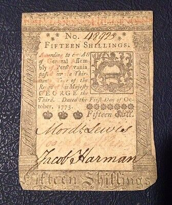 Fifteen Shillings Colonial Currency Oct. 1, 1773 Good Condition Free Shipping.