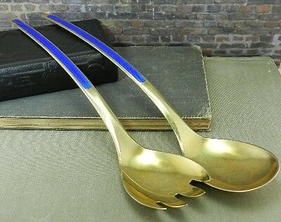 N. M. Thune Norway Blue Enamel 925S Sterling Silver Salad Serving Set