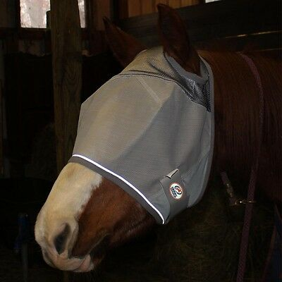 Reflective Horse Fly Mask without Ears 1 YR Limited Warranty First in USA GREY