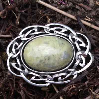 Connemara marble Celtic brooch pin.gemstone jewellery.Ireland Silver pewter