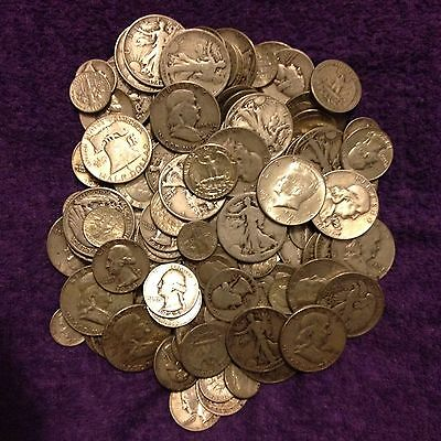 1/2 OZ 90% SILVER COINS!! 1964 AND EARLIER HALVES, QUARTER, AND DIMES!