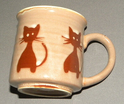 Vintage 1980's Cat Themed Porcelain Mug Cup w Brown Cats