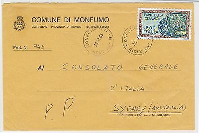 (Q8-48)1985Italy600l lettertoConsularGeneral inSydney(H