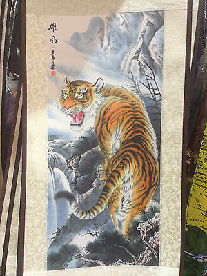 Tiger Back Side Chinese Silk Print Printing Picture Wall Scroll Art 6'' x 19''