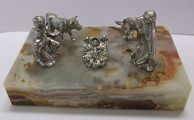 Pewter Nativity Scene on Marble Slate, From Italy New