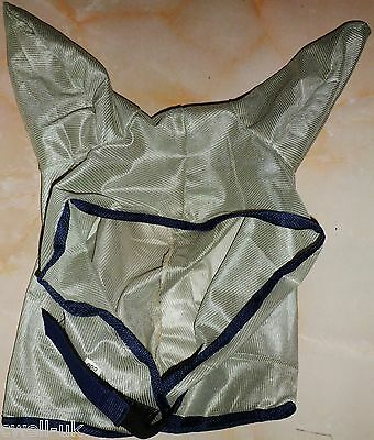 NEW HORSE  MESH FLY MASK WITH EARS metallic grey - FREE P/P
