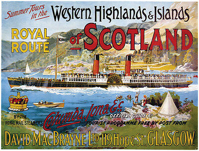 Scotland, Loch, Paddle Steamer Boat/Ship, Vintage, Small Metal Tin Sign, Picture