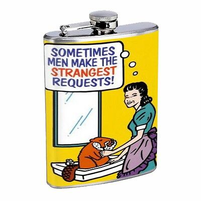 Woman Shaving Beaver Funny D496 Flask 8oz Stainless Steel Comical Humor