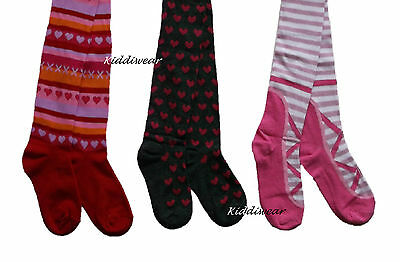 Girl's tights 2 3 4 5 6 7 8 years pink grey red woolies knited cotton rich
