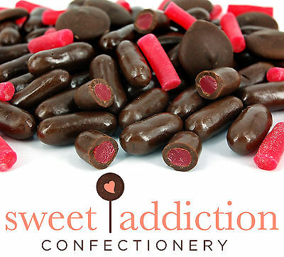 500g Premium REAL Dark Chocolate Covered Raspberry Bullets - Bulk Candy Buffet