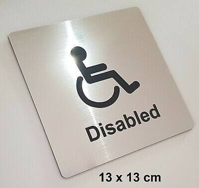 DISABLED TOILET & BATHROOM SIGN - LASER ENGRAVED DOOR SIGN / PLAQUE - silver