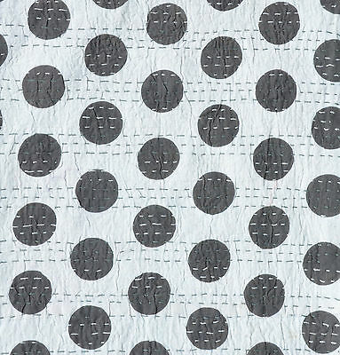 "Indian Polka Dot Design Cotton Kantha Stitch C/Cover-Grey/Grey Stitch -16""/41 cm"