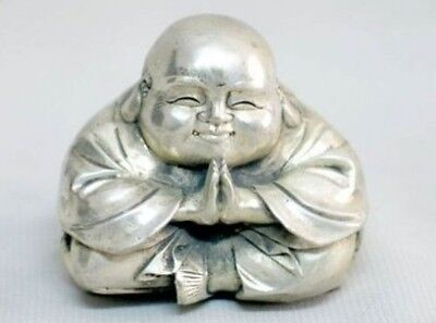 Old Tibet Silver Sitting Laughing Buddha Statue