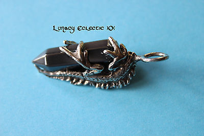 """HEMATITE Crystal Point IGUANA Necklace 24 """" Pewter Wicca Pagan Pet Lover Lizard"""