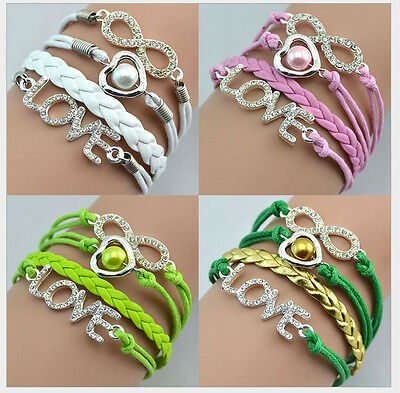 NEW Hot Retro Infinity Key Love Heart Pearl Leather Charm Bracelet plated Silver