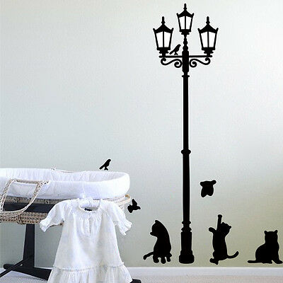 DIY Removable Art Vinyl Quote Wall Sticker Decal Home Room Decor Steetlight cat