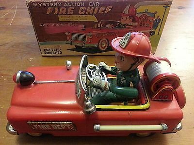 "Vintage ""Mystery Action Car Fire Chief"" Battery Powered with Original Box"