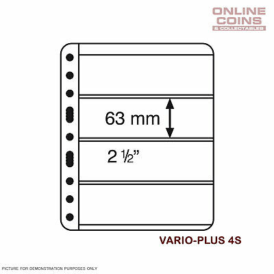 Lighthouse Vario PLUS 4 Pocket Black Banknote / Stamp Album Pages Pack of 5