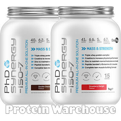 PhD Nutrition Synergy Iso 7 Iso-7 1Kg 1000g All In One Not 2kg Gym Bag £19.99
