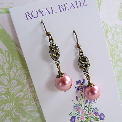 Victorian Edwardian Vintage Style Flower Rose Pink Pearl Bronze Earrings