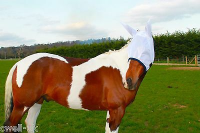 New Horse/cob Mesh Fly Mask With Ears White  - Free P/p