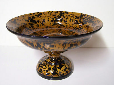 Gold Black Speckled Leopard Handmade Art Pottery Raised Compote Dish Bowl Mint