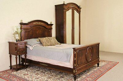 French Empire Antique 3 Pc. Bedroom Set, Bed, Armoire & Nightstand