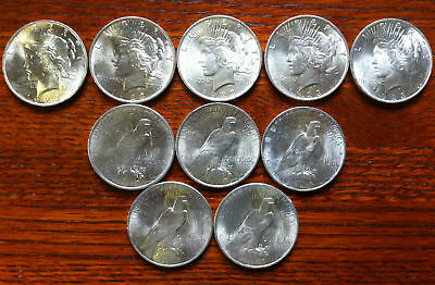 10 - PEACE SILVER DOLLAR Coins Rounds BRILLIANT UNCIRCULATED 1923 (SHIP IN TUBE)