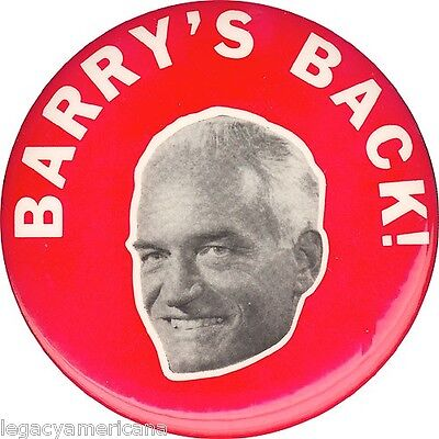 1968 Barry Goldwater Arizona BARRY'S BACK Senate Campaign Button (1726)