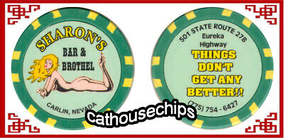 Sharon's Bar & Brothel Carlin, NEVADA Legal Cathouse Bordello Token Chip