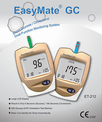 Blood Glucose Monitor - EasyMate - Also for CHOLESTEROL - Strips Incl. - NEW